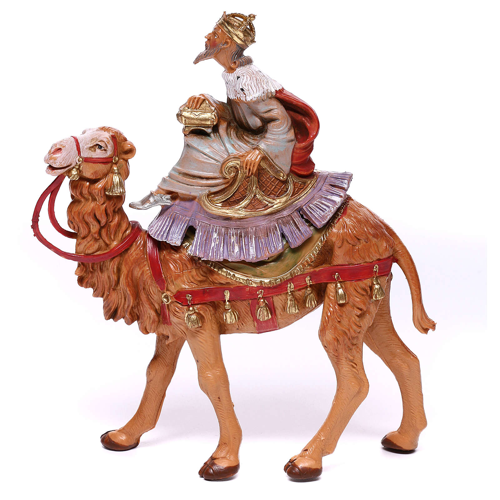 Tres Reyes Magos y camellos para belén Fontanini 10 cm 4