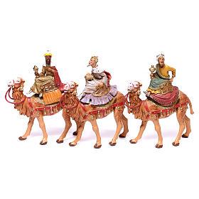 Tres Reyes Magos y camellos para belén Fontanini 10 cm s1