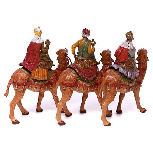 Tres Reyes Magos y camellos para belén Fontanini 10 cm 6
