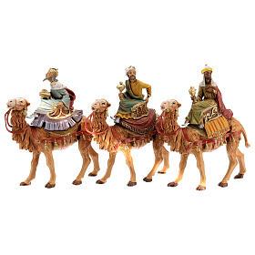 Reis Magos nos camelos para presépio Fontanini com figuras de 10 cm de altura média s1