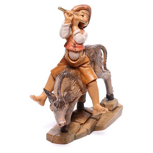 Hirte auf Esel, für 12 cm Krippe von Fontanini 2