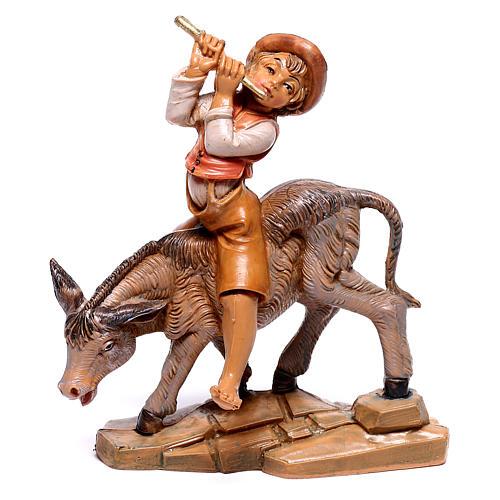 Berger sur âne crèche Fontanini 12 cm 1