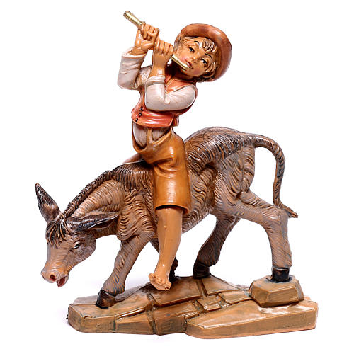 Pastor no burro para presépio Fontanini com figuras de 12 cm de altura média 1