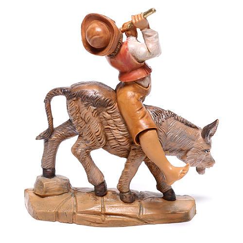 Pastor no burro para presépio Fontanini com figuras de 12 cm de altura média 3