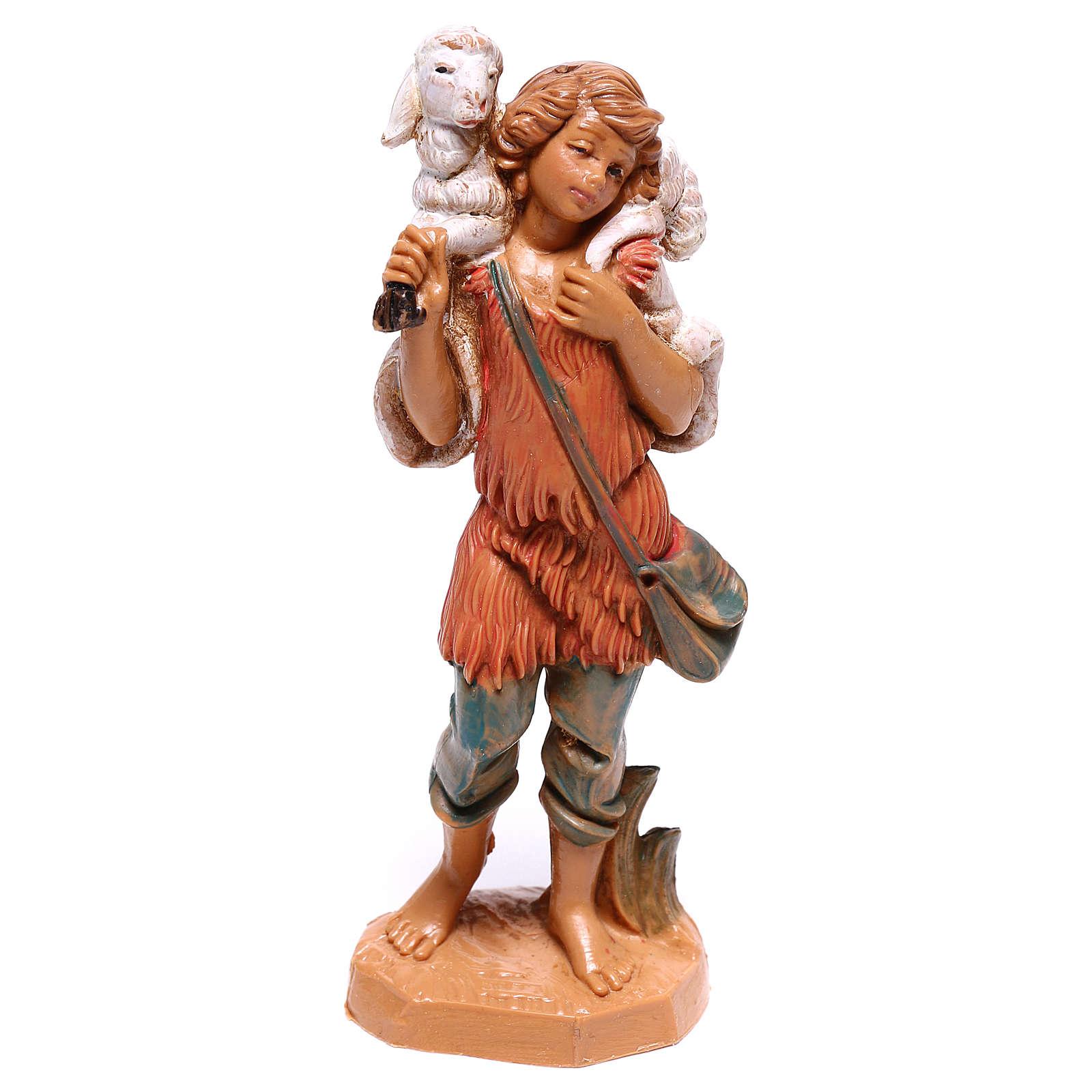 Pastor con oveja sobre las espaldas belén Fontanini 10 cm 4