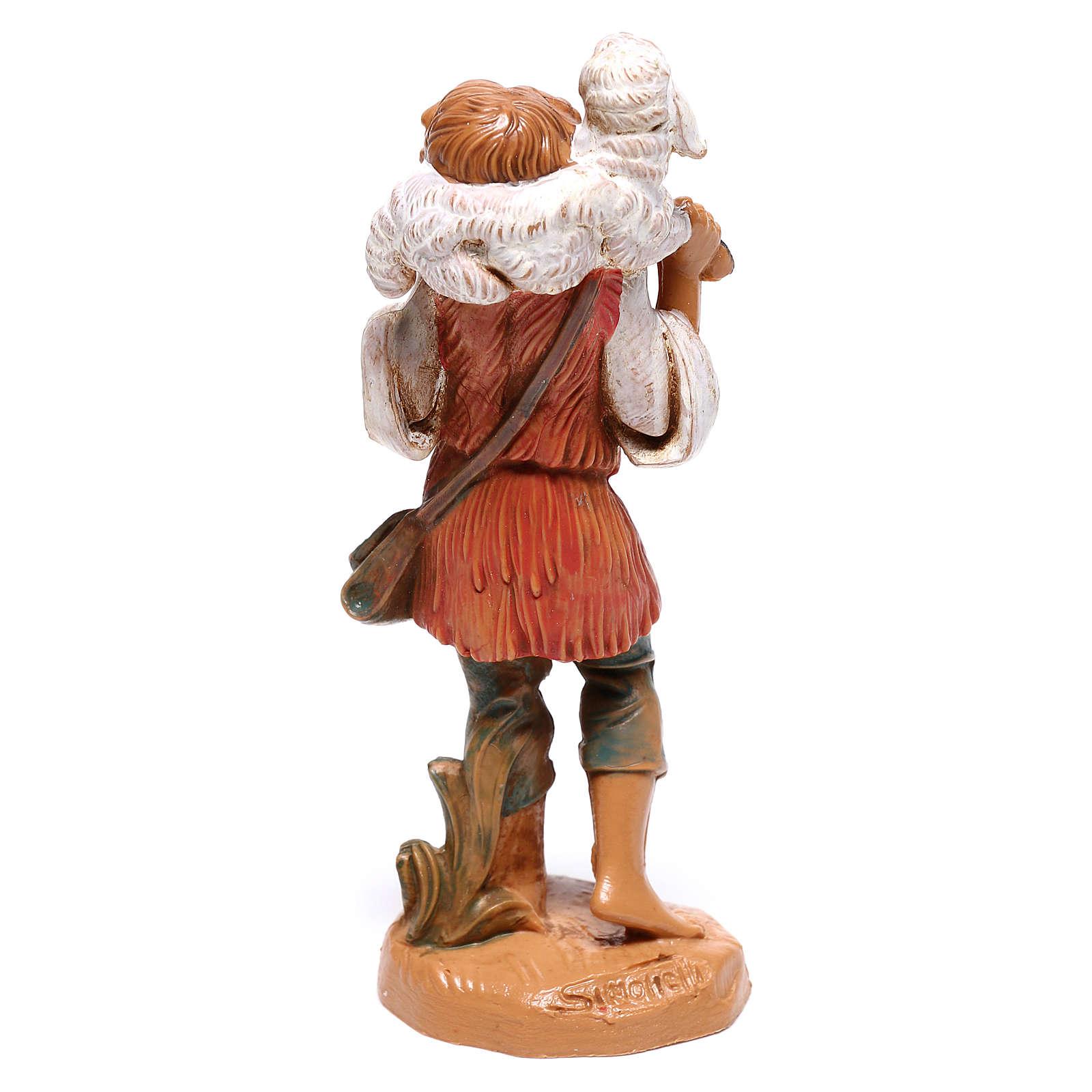 Berger avec mouton sur les épaules crèche Fontanini 10 cm 4
