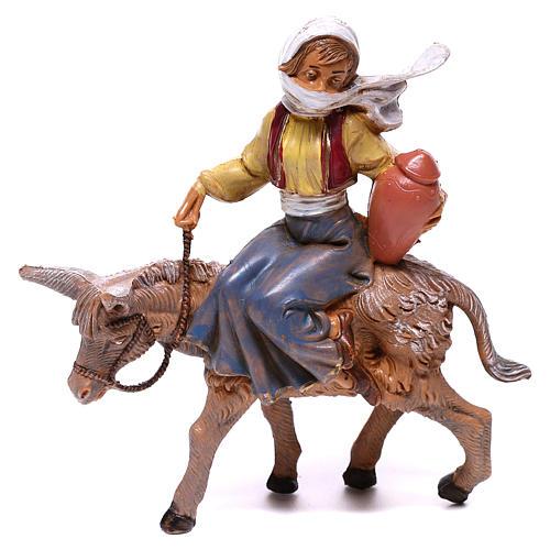 Fille sur âne crèche Fontanini 12 cm 1
