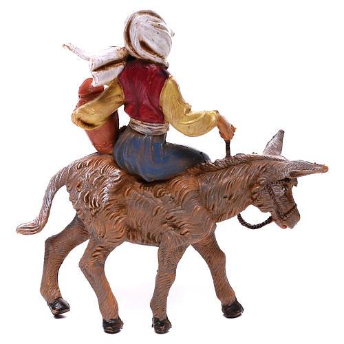 Fille sur âne crèche Fontanini 12 cm 2
