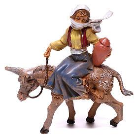 Rapaz no burro para presépio Fontanini com figuras de 12 cm de altura média s1