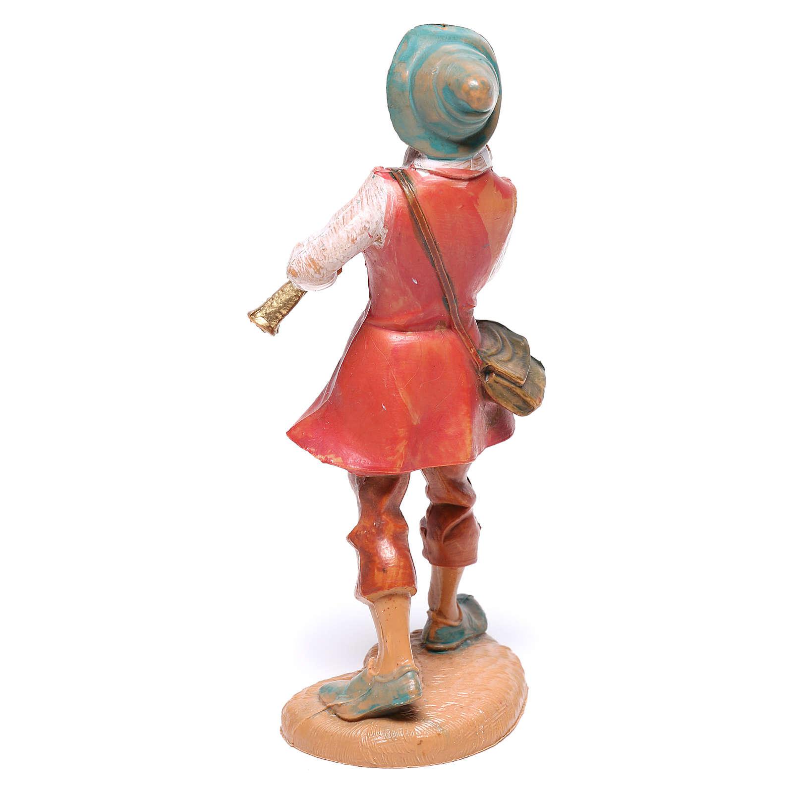 Pastor com flauta para presépio Fontanini com figuras de  10 cm de altura média 4