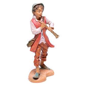 Pastor com flauta para presépio Fontanini com figuras de  10 cm de altura média s1