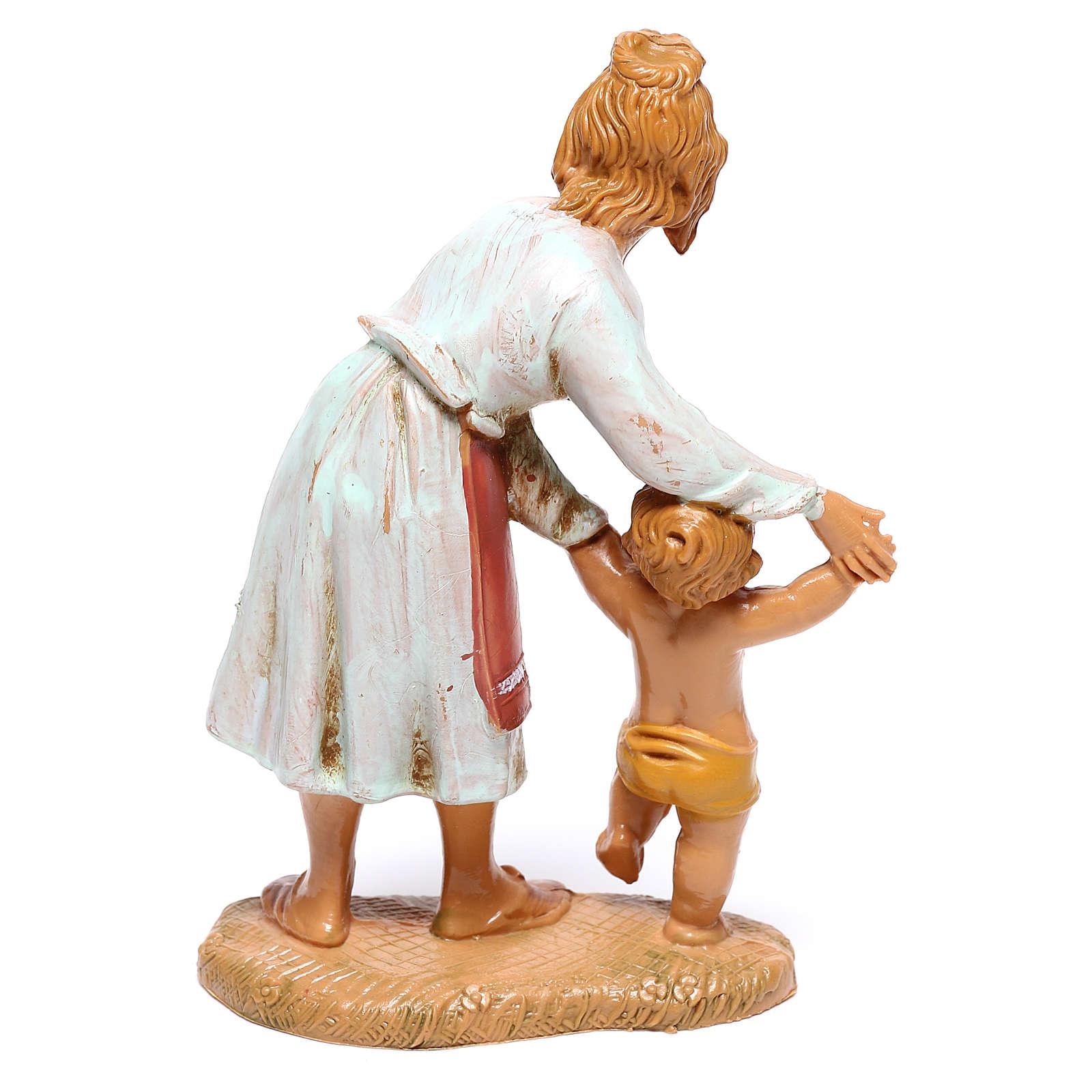 Hirtenmädchen mit laufendem Kleinkind für 10 cm Krippe von Fontanini 4