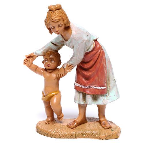 Hirtenmädchen mit laufendem Kleinkind für 10 cm Krippe von Fontanini 1