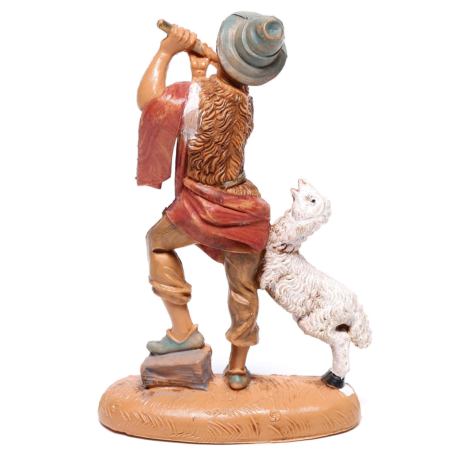 Berger avec flûte et mouton crèche Fontanini 10 cm 4