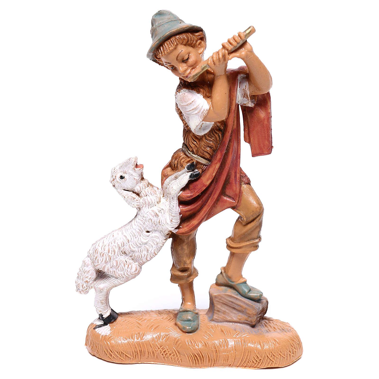 Pastor comflauta e ovelha para presépio Fontanini com figuras de  10 cm de altura média 4