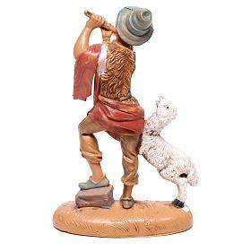 Pastor comflauta e ovelha para presépio Fontanini com figuras de  10 cm de altura média s2