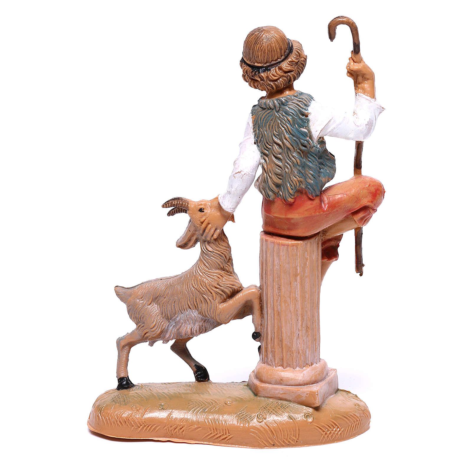 Pastor com cabra para presépio Fontanini com figuras de  10 cm de altura média 4