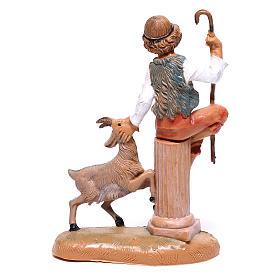 Pastor com cabra para presépio Fontanini com figuras de  10 cm de altura média s2