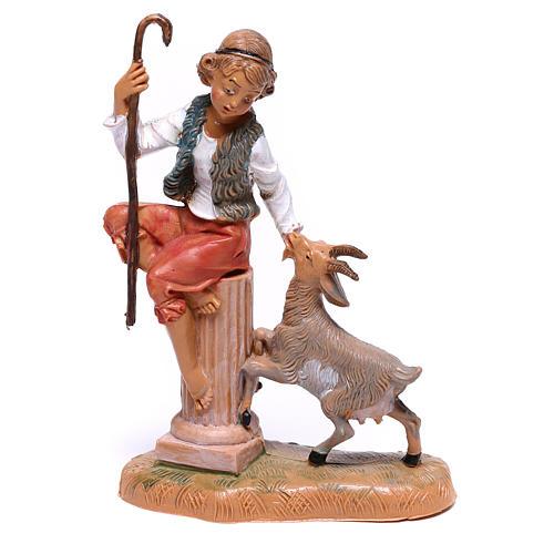 Pastor com cabra para presépio Fontanini com figuras de  10 cm de altura média 1