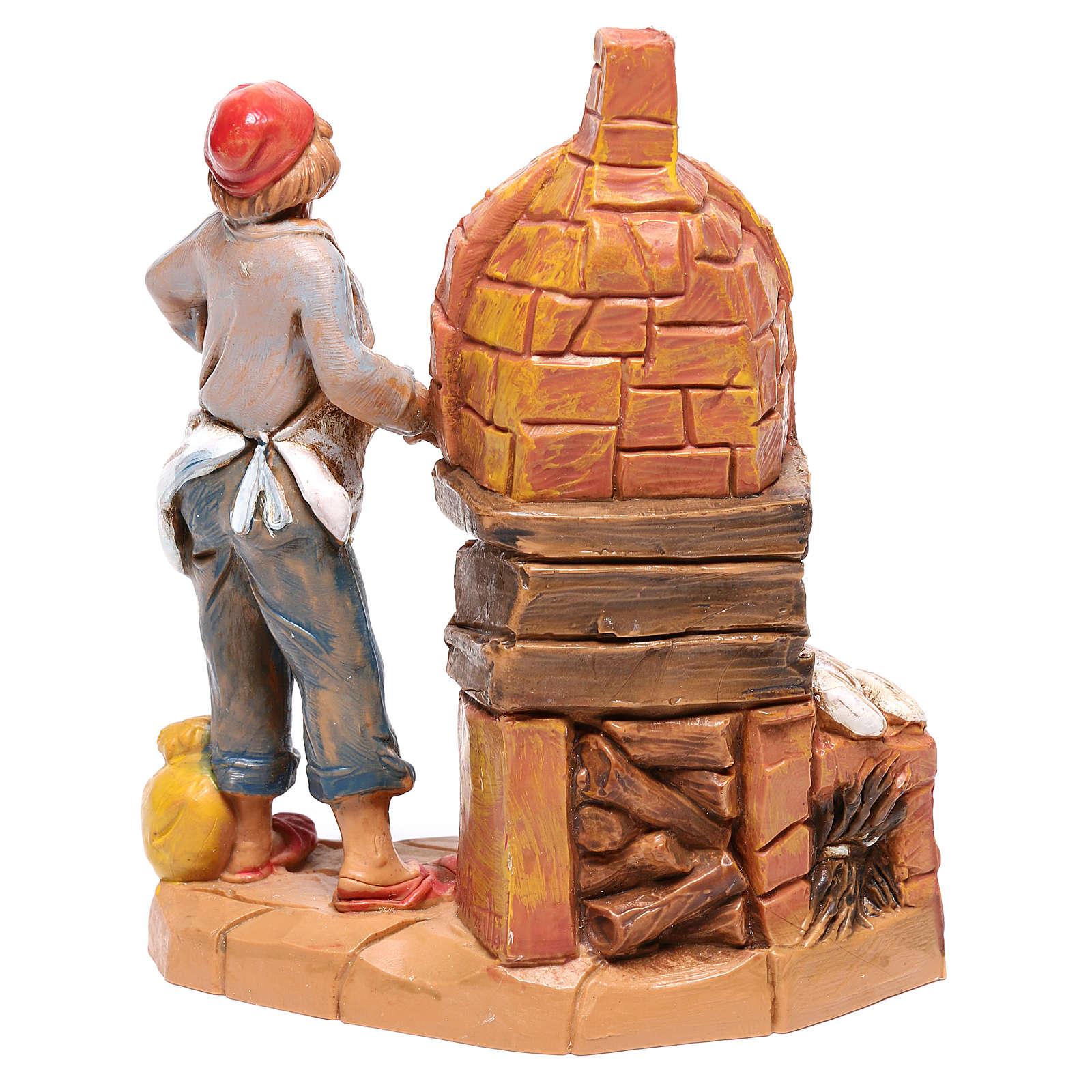 Padeiro com forno para presépio Fontanini com figuras de 9,5 cm de altura média 4