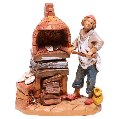 Padeiro com forno para presépio Fontanini com figuras de 9,5 cm de altura média 1