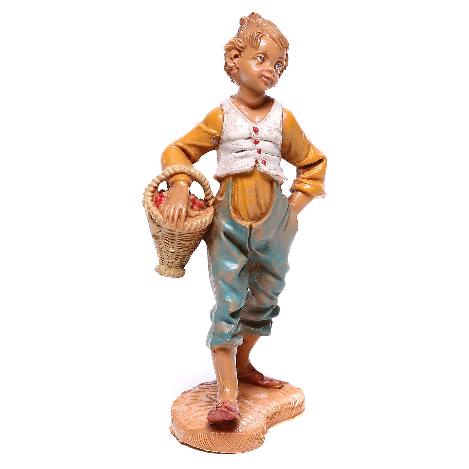 Chico con cesta de fruta belén Fontanini 10 cm 4