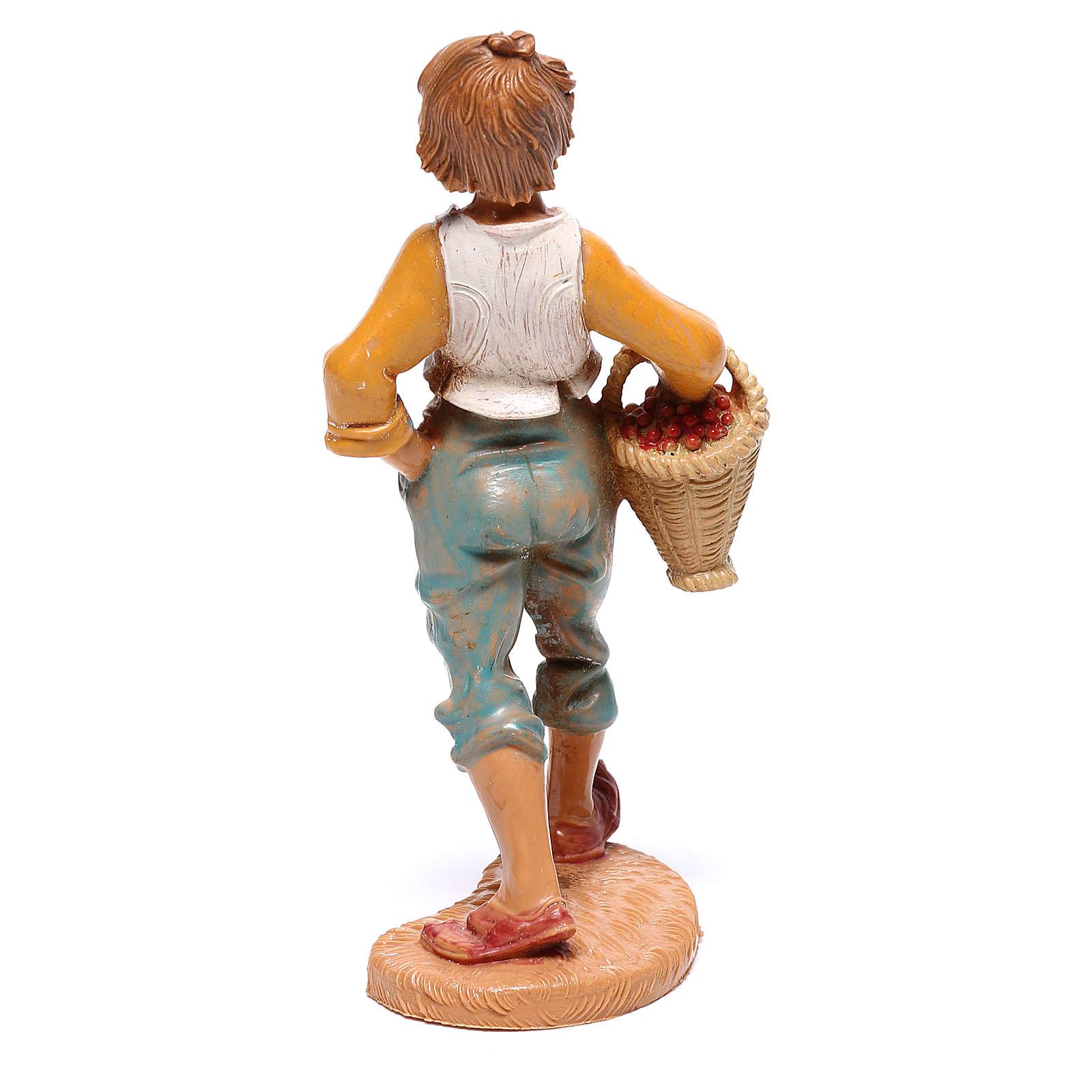 Rapaz com cesta de fruta para presépio Fontanini com figuras de 10 cm de altura média 4