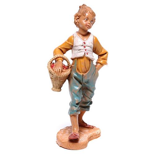 Rapaz com cesta de fruta para presépio Fontanini com figuras de 10 cm de altura média 1