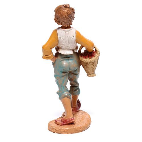 Rapaz com cesta de fruta para presépio Fontanini com figuras de 10 cm de altura média 2