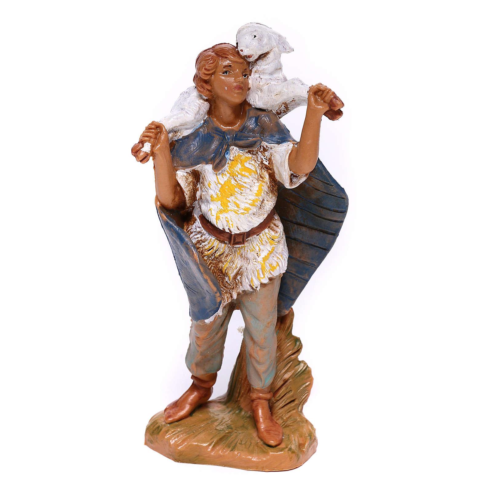 Berger en résine avec mouton sur épaules crèche Fontanini 9,5 cm 4