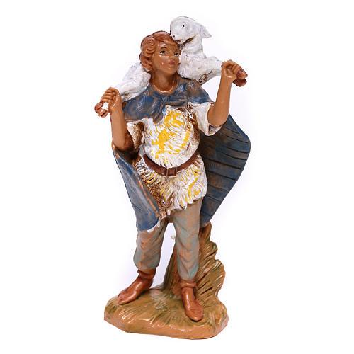 Berger en résine avec mouton sur épaules crèche Fontanini 9,5 cm 1