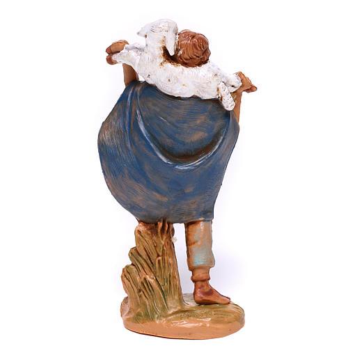 Berger en résine avec mouton sur épaules crèche Fontanini 9,5 cm 2