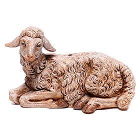 Ovelha deitada para presépio Fontanini com figuras de 30 cm de altura média s1