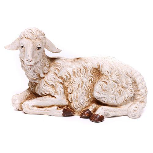 Ovelha branca deitada para presépio Fontanini com figuras de 30 cm de altura média 1