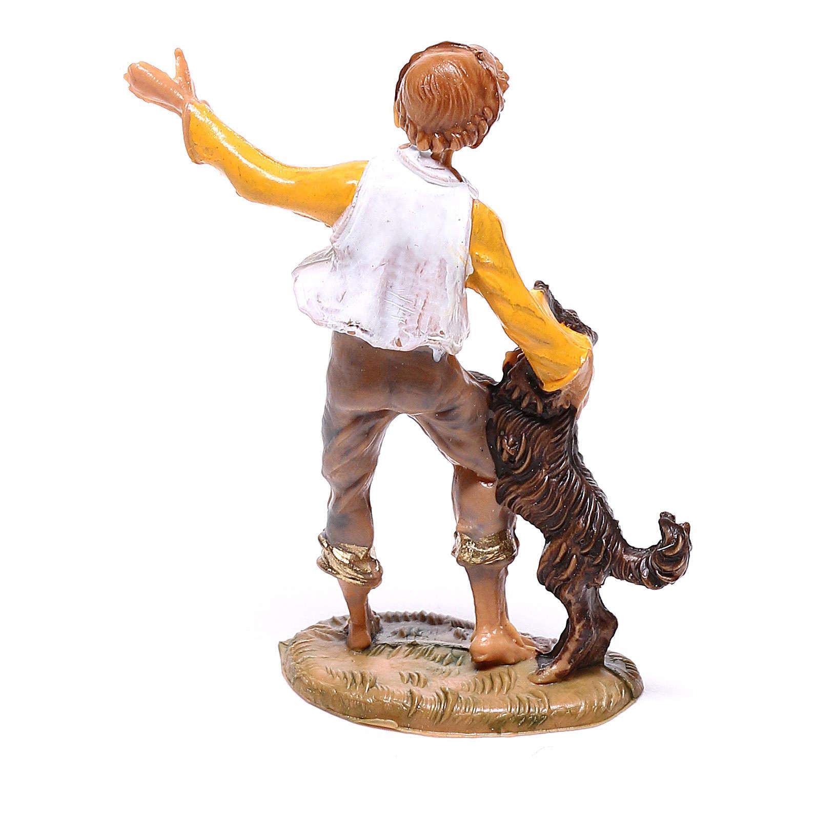Chico con perro belén Fontanini 4 cm 4