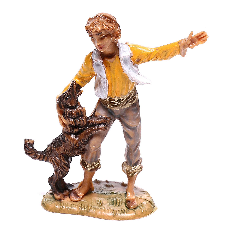 Jeune garçon avec chien crèche Fontanini 4 cm 4