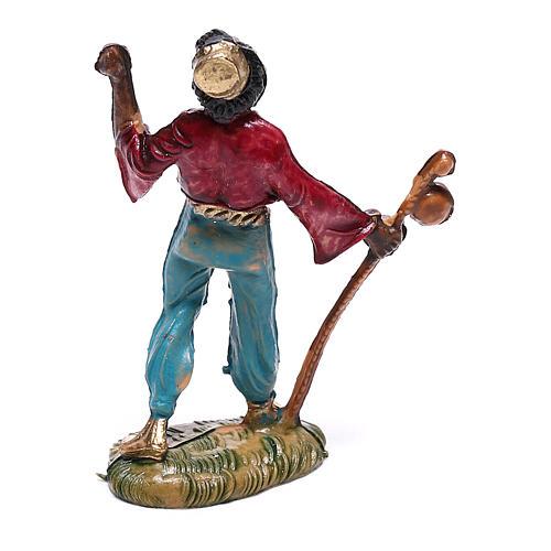 Pasterz czarny z kijem 4 cm szopka Fontanini 2