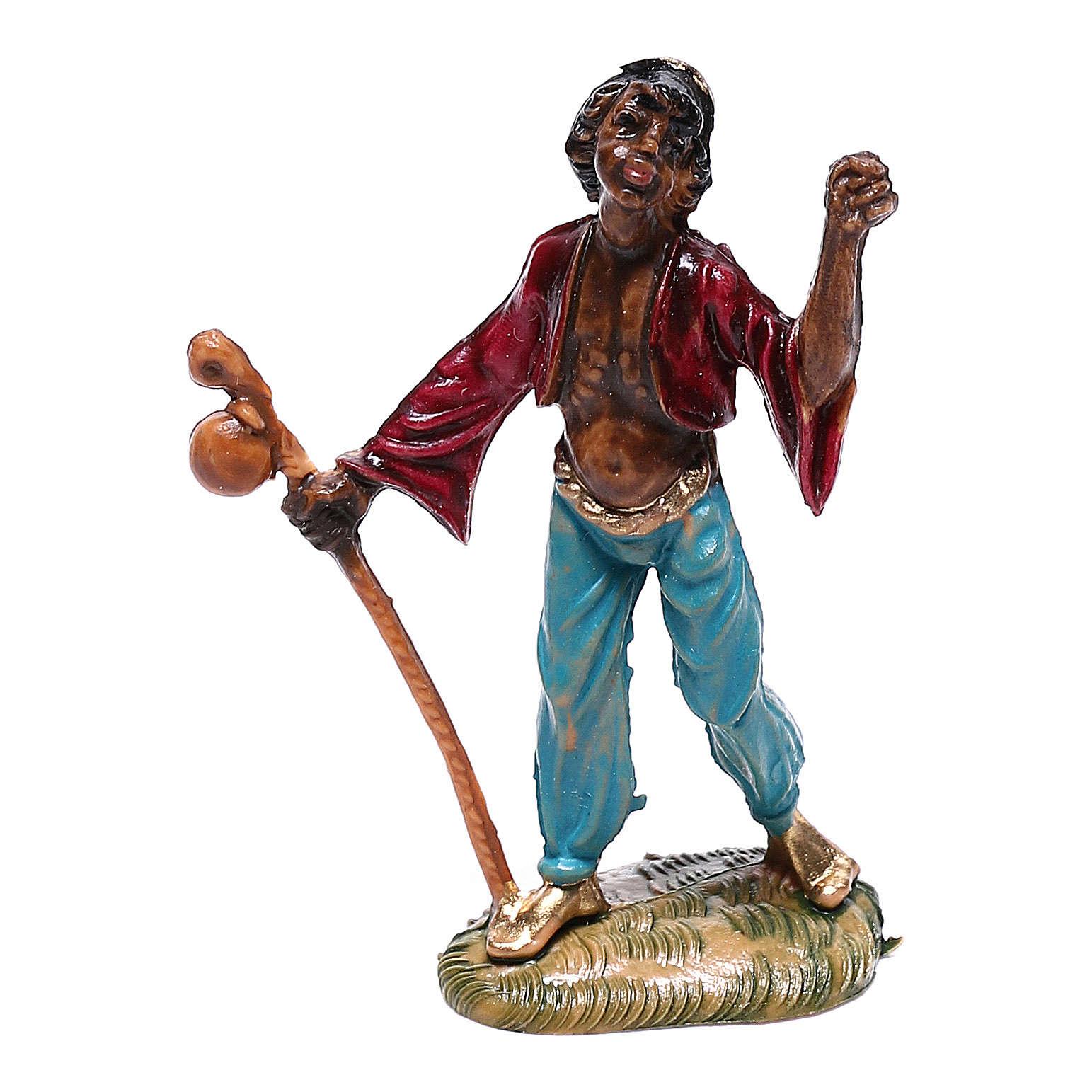 Pastor mouro com bastão para presépio Fontanini com figuras de 4 cm de altura  média 4