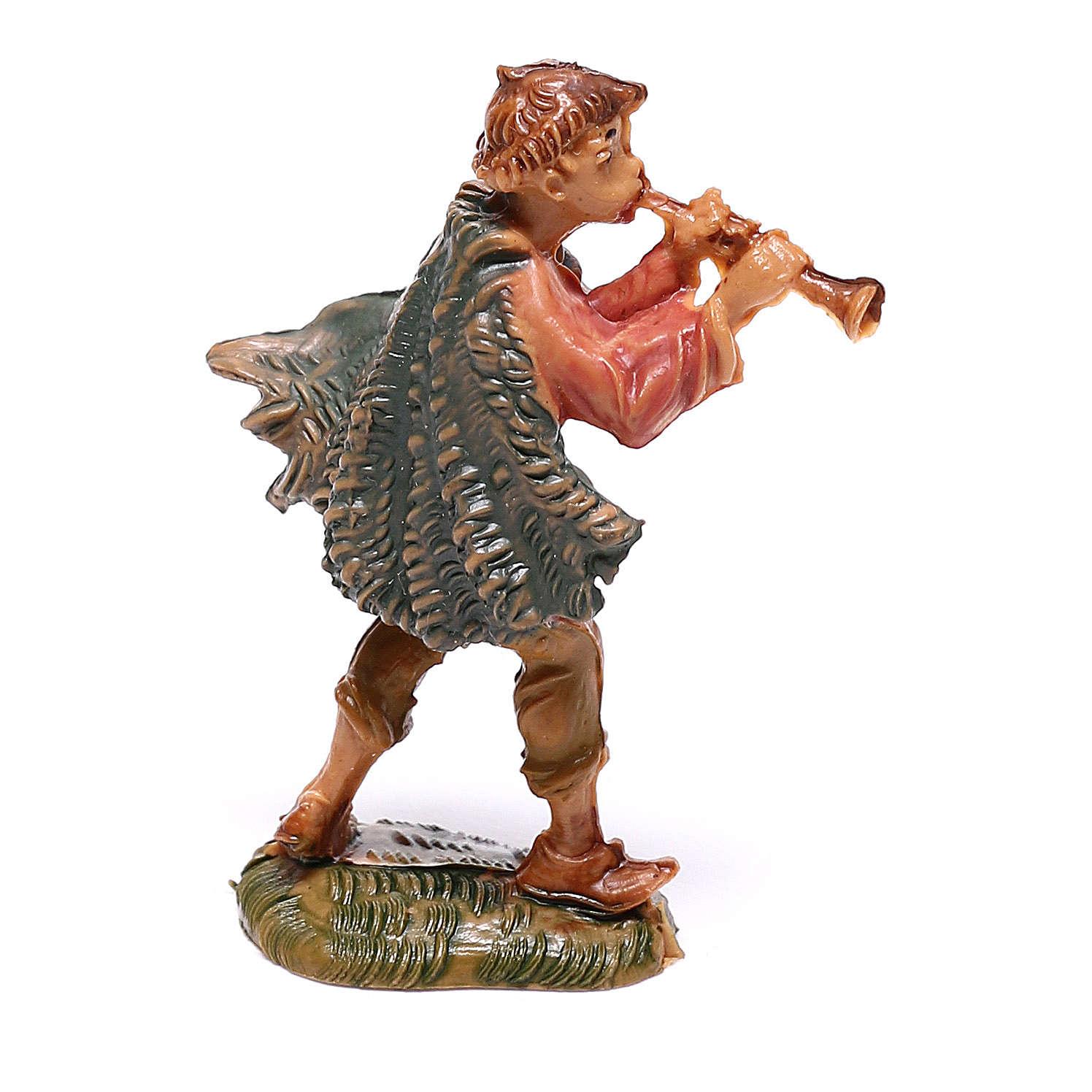 Pastor que toca flauta para presépio Fontanini com figuras de 4 cm de altura média 4