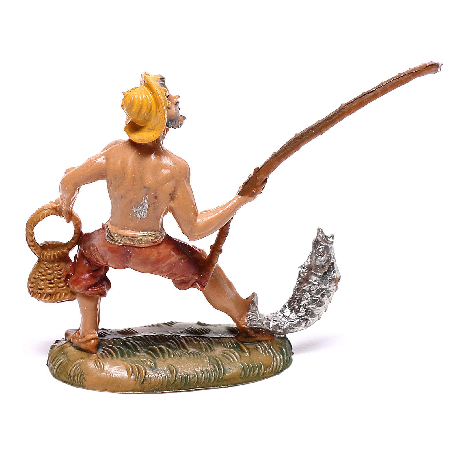 Pêcheur avec poisson et panier crèche Fontanini 4 cm 4