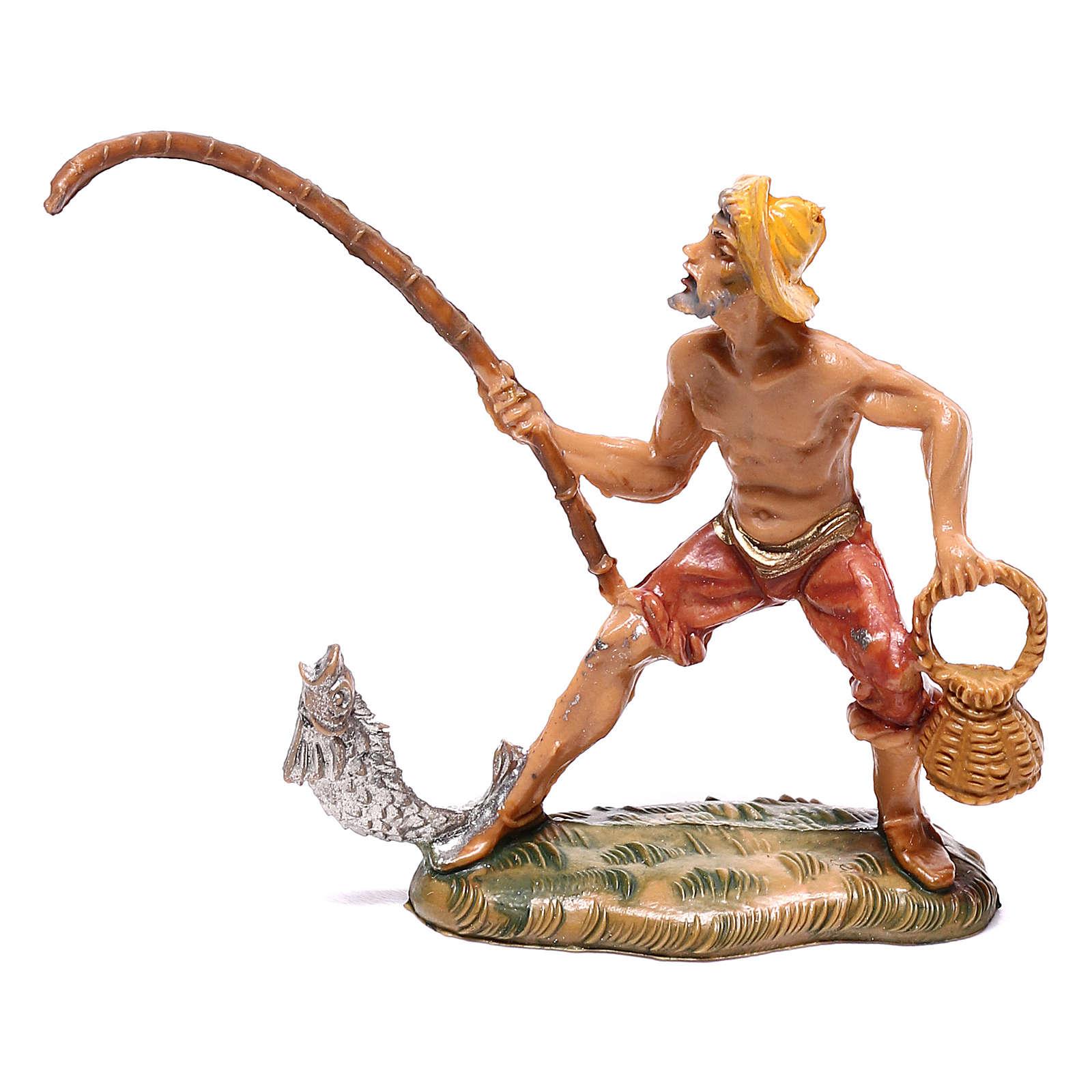Pescador com peixe e cesta para presépio Fontanini com figuras de 4 cm de altura média 4