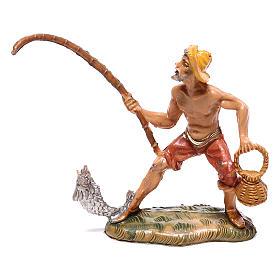 Pescador com peixe e cesta para presépio Fontanini com figuras de 4 cm de altura média s1