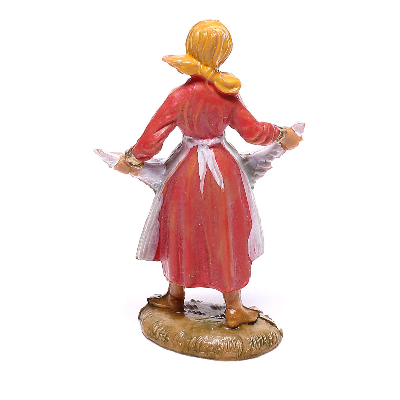 Pastorinha com galinha para presépio Fontanini com figuras de 4 cm de altura média 4