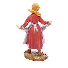 Pastorinha com galinha para presépio Fontanini com figuras de 4 cm de altura média s2