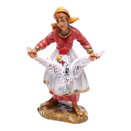 Pastorinha com galinha para presépio Fontanini com figuras de 4 cm de altura média 1