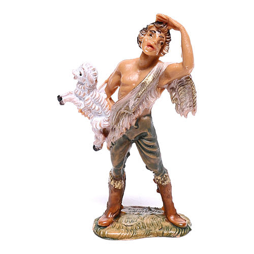Pastor com ovelha no colo para presépio Fontanini com figuras de 4 cm de altura média 1