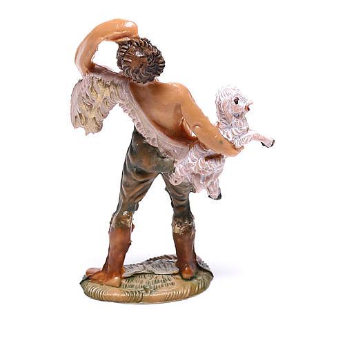 Pastor com ovelha no colo para presépio Fontanini com figuras de 4 cm de altura média 2