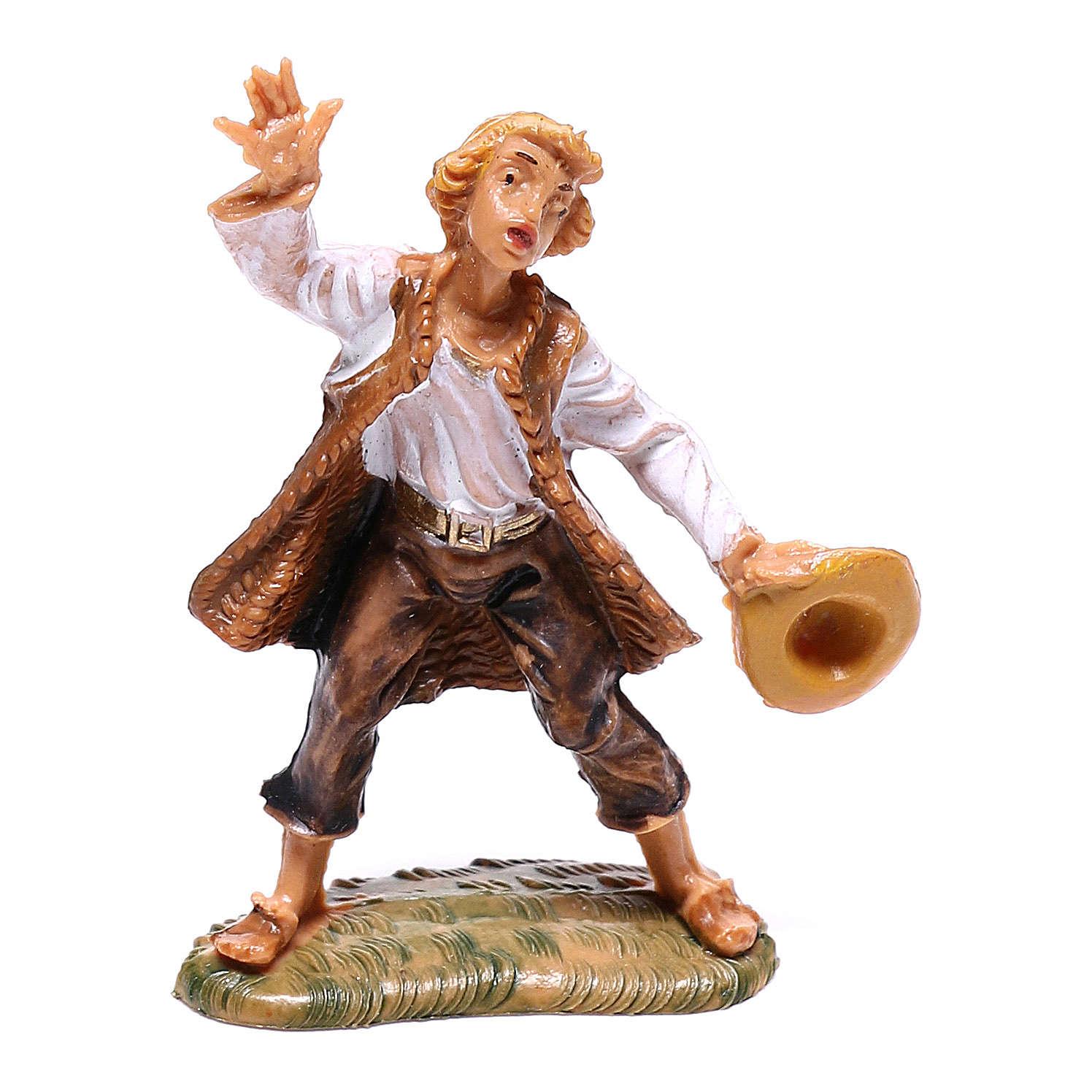 Berger avec chapeau en main crèche Fontanini 4 cm 4