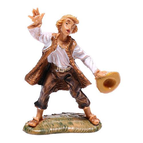 Berger avec chapeau en main crèche Fontanini 4 cm 1