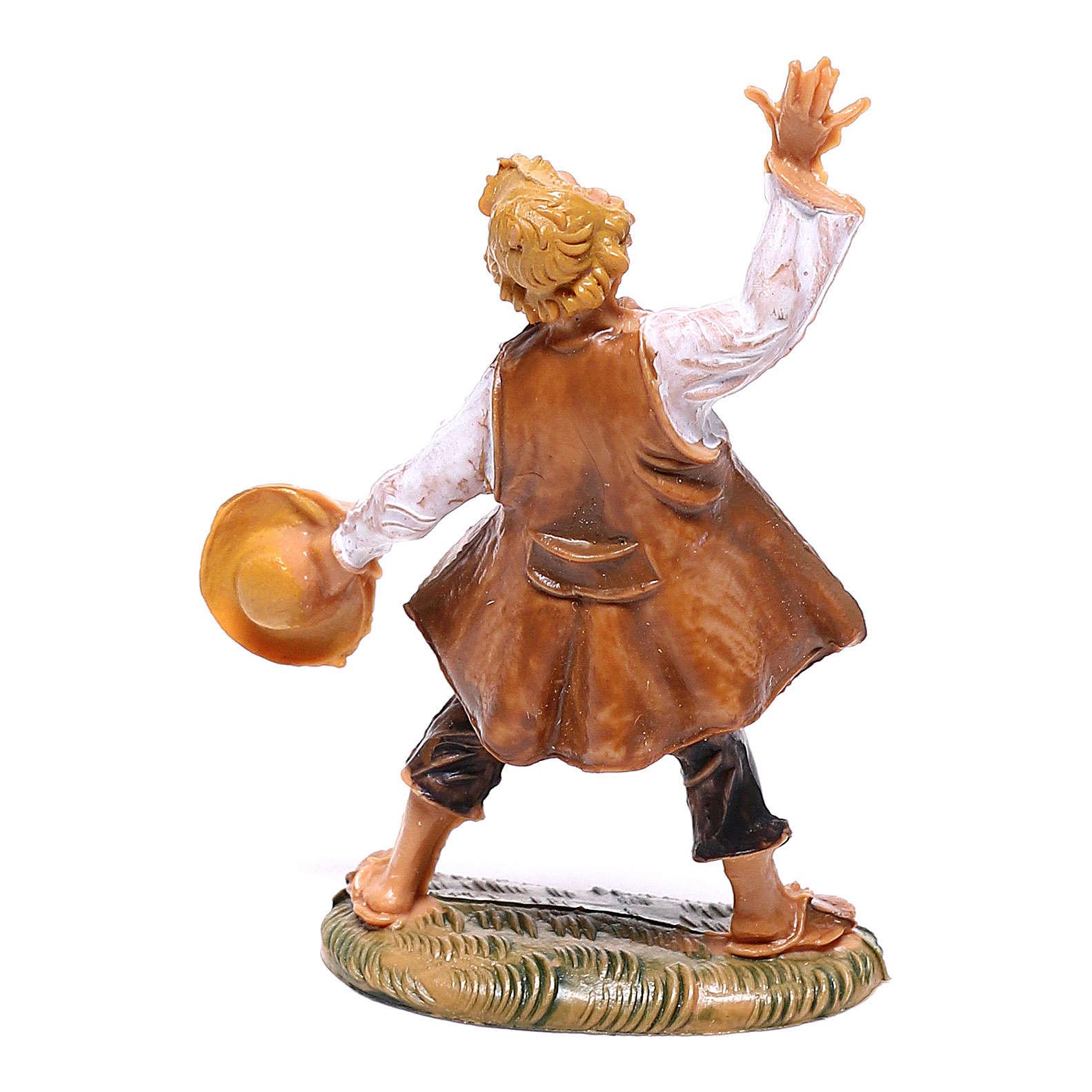 Pastor com chapéu na mão para presépio Fontanini com figuras de 4 cm de altura média 4